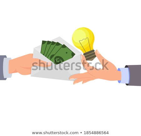 manager holding envelope with money in hand vector isolated illustration stock photo © pikepicture