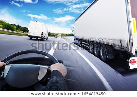 Kolaż ciężarówki transportu szybko stanie działalności Zdjęcia stock © alphaspirit
