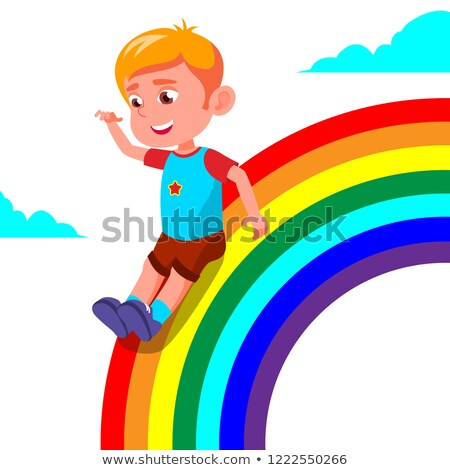 happy child boy rolling down the rainbow vector illustration stock photo © pikepicture