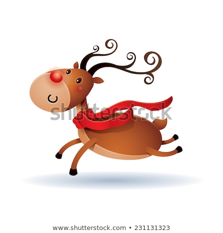 rendier · geïsoleerd · leuk · hoed · christmas · cartoon - stockfoto © ori-artiste
