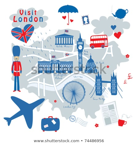 Reizen Engeland koffer Londen bezienswaardigheden komische Stockfoto © rogistok