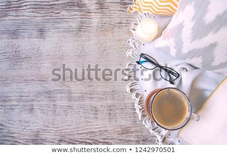 Boek bril katoen houten kaars Stockfoto © dashapetrenko