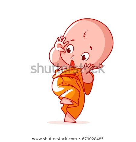 Ijedt rajz szerzetes illusztráció néz személy Stock fotó © cthoman