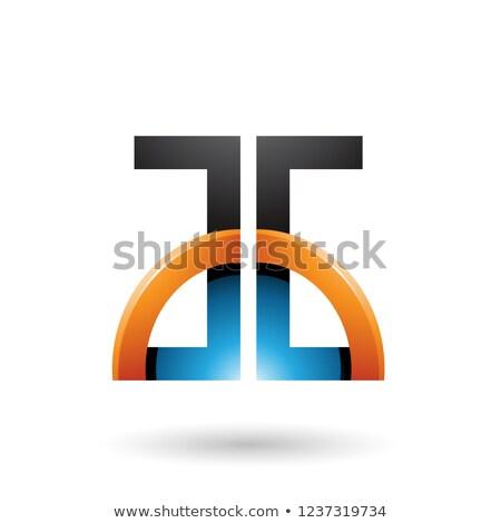 Blauw oranje brieven glanzend half cirkel Stockfoto © cidepix