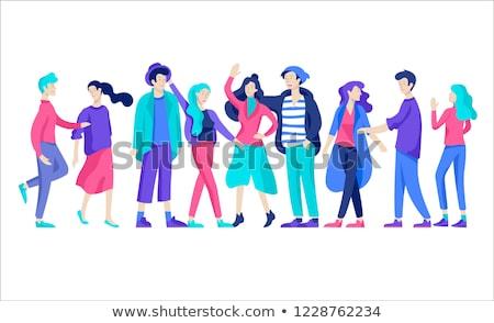 Internationale bedrijfsleven ontwerp stijl kleurrijk illustratie Blauw Stockfoto © Decorwithme
