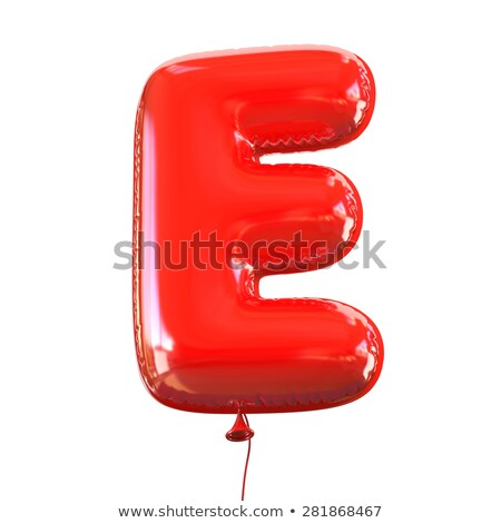 Red glossy font Letter E 3D Stock photo © djmilic