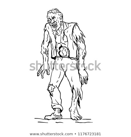 Zombie Walking Front Drawing Stock photo © patrimonio