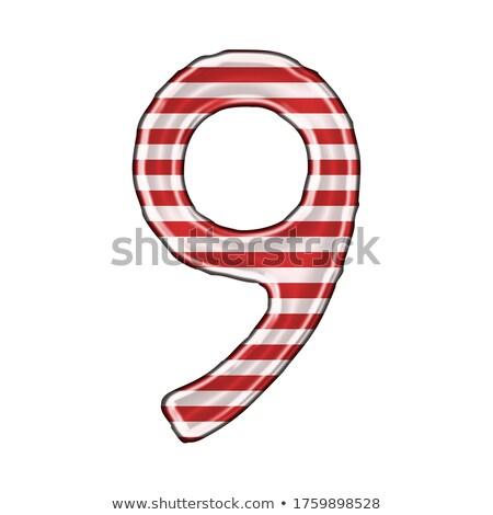 metal red lines font number nine 9 3d stock photo © djmilic