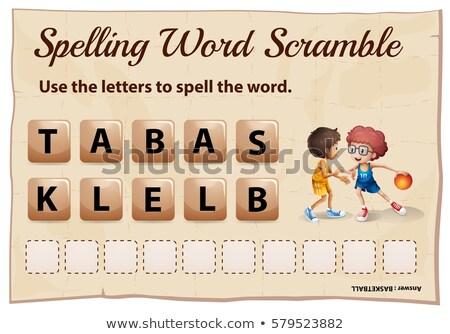 Spelling woord basketbal illustratie school achtergrond Stockfoto © colematt