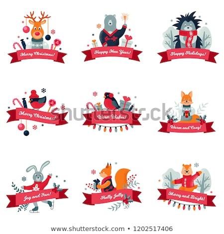 陽気な クリスマス クマ キツネ 現在 セット ストックフォト © robuart