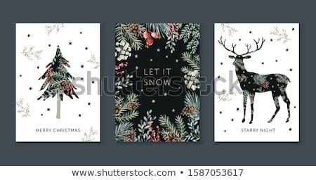 Set cervo natura frame illustrazione fiore Foto d'archivio © bluering