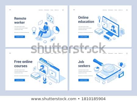 Global online education isometric 3D landing page. Stock photo © RAStudio