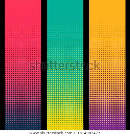 Három függőleges halftone szalag különböző színek Stock fotó © SArts