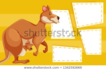 A kangaroo on blank note Stock photo © bluering