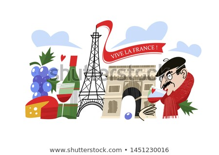 Frenchman with cheese and wine in hands Stock photo © colematt