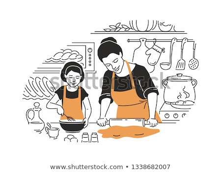 Mother and daughter cooking - modern vector illustration Stock photo © Decorwithme