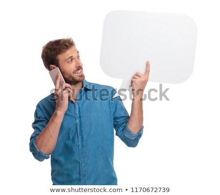 atraente · jovem · empresário · falante · telefone · móvel · sessão - foto stock © feedough