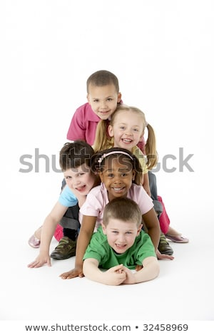 Foto stock: A Group Of Five Young Children In Studio