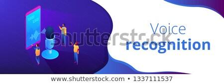 Personale voce assistente isometrica 3D banner Foto d'archivio © RAStudio