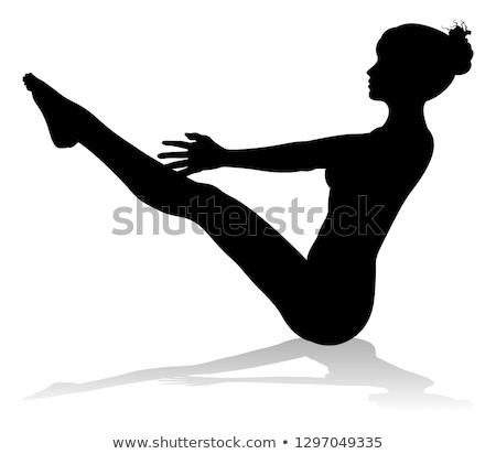 Jóga pilates póz nő sziluett fitnessz Stock fotó © Krisdog