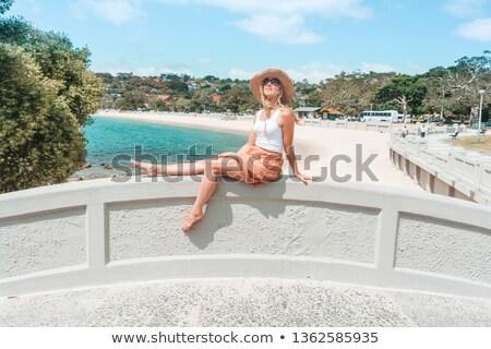 Nő megnyugtató ív híd élvezi nyár Stock fotó © lovleah