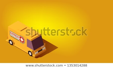 黄色 速達便 車 物流 アイソメトリック かわいい ストックフォト © tashatuvango