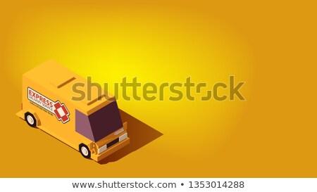 Yellow Express Delivery Car. Logistics or Relocation Isometric Concept. Stock photo © tashatuvango