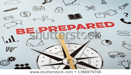 a compass with text and icons   be prepared stock photo © zerbor