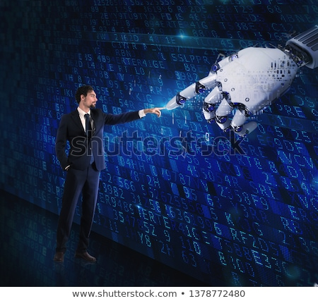 Man machine interaction between human and a digital hand Stock photo © alphaspirit