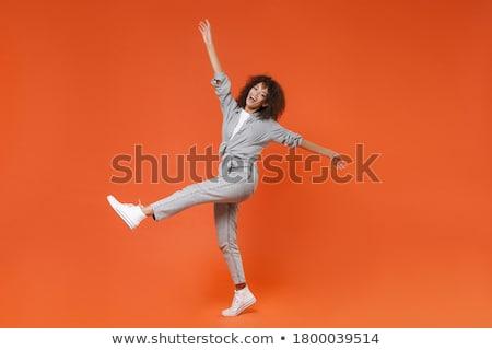 tam · uzunlukta · portre · mutlu · kız · elbise · poz · ayakta - stok fotoğraf © deandrobot