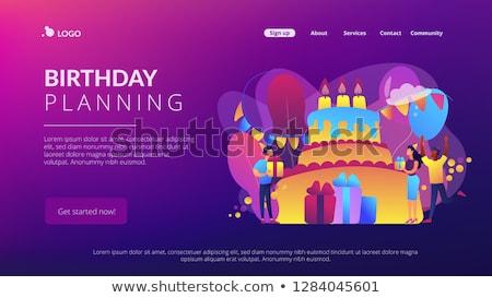 Joyeux anniversaire néon atterrissage page fête promotion Photo stock © Anna_leni