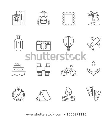 Snorkeling vektor vonal ikon izolált fehér Stock fotó © smoki