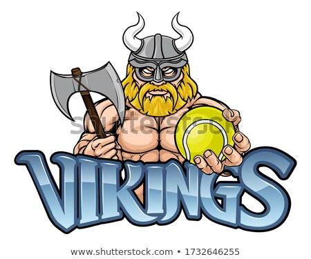Viking tennis sport mascotte krijger gladiator Stockfoto © Krisdog