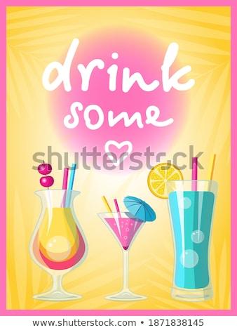 Vidro brilhante azul tequila nascer do sol cocktails Foto stock © dashapetrenko