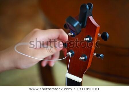 Process of changing string of ukulele Stock photo © dashapetrenko