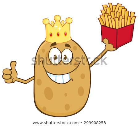 smiling king potato cartoon character holding fries and giving a thumb up stock photo © hittoon