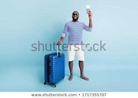 Funny man with luggage on white Stock photo © Elnur