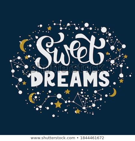 doce · sonho · ilustração · menina · cama · lua - foto stock © colematt