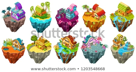 Verschillend ontwerpen huisje eilanden illustratie strand Stockfoto © colematt
