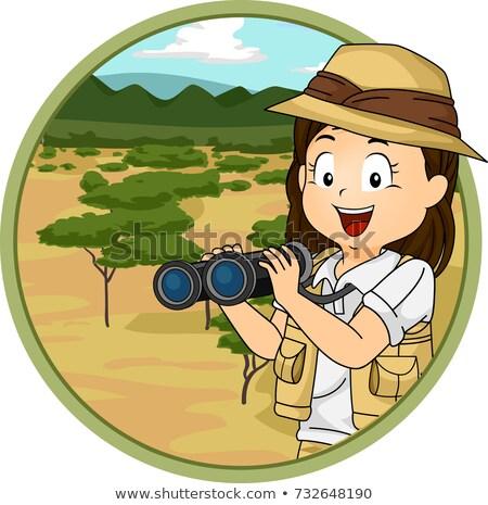 Kid ragazza savana illustrazione explorer Foto d'archivio © lenm