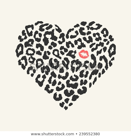lipstick kiss print heart white background stock photo © adamson