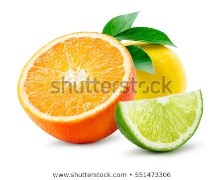 Geel · grapefruit · plakje · plaat · kruis · vruchten - stockfoto © karandaev
