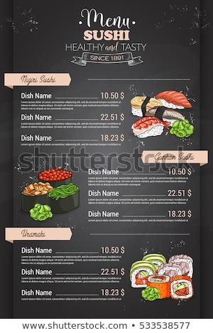 Сток-фото: ресторан · вертикальный · цвета · суши · меню · дизайна