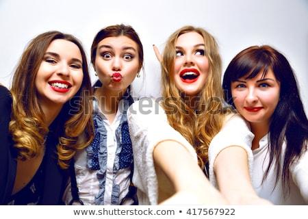 mutlu · genç · kızlar · park · cep · telefonu - stok fotoğraf © dariazu