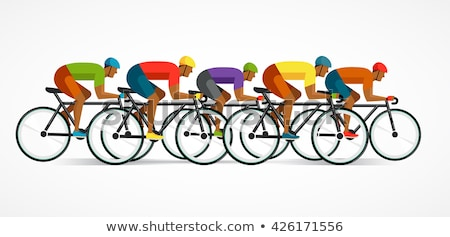 cyclist riding on bicycle, vector infographics, poster, icon set Stock photo © marish