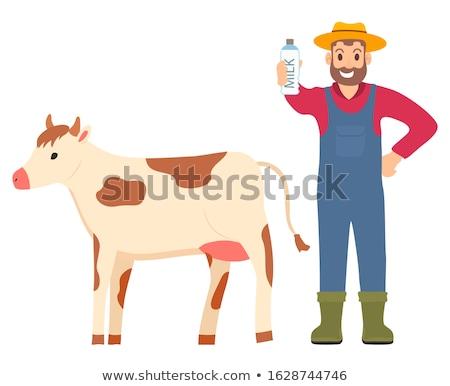 Farming Man Showing Organic Milk Product Bottled Stock photo © robuart