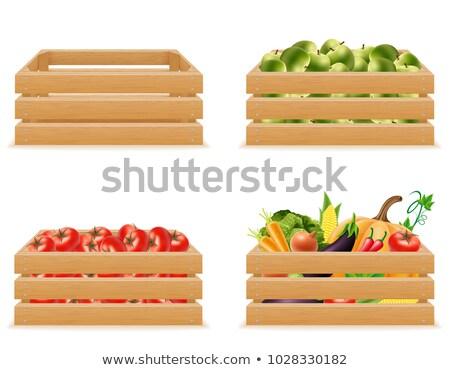termény · láda · aratás · zöldségek · doboz · vektor - stock fotó © robuart