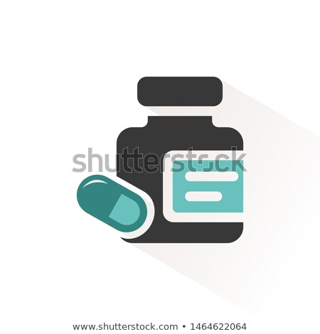 Medicine pills and capsules bottle icon with beige shadow. Vector illustration Stock photo © Imaagio