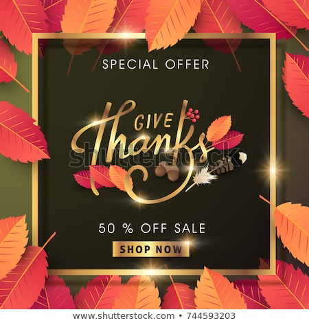 Calligraphy of Thanksgiving Day Sale banner. Seasonal lettering, vector illustration. Stock photo © ikopylov