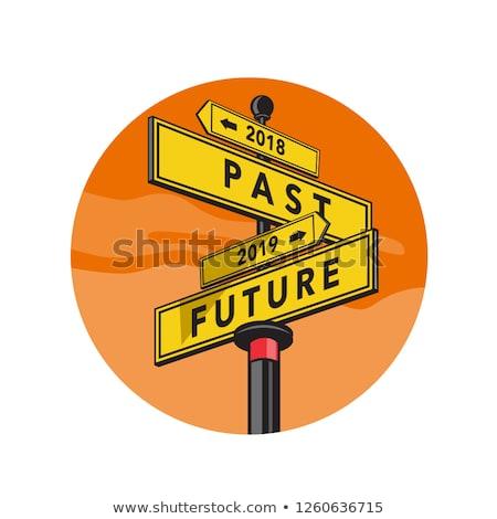 Geçmiş gelecek tabelasını Retro retro tarzı örnek Stok fotoğraf © patrimonio